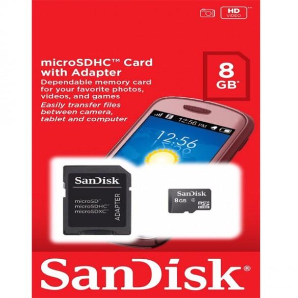 Cartão de Memória Micro SD de 8GB SanDisk