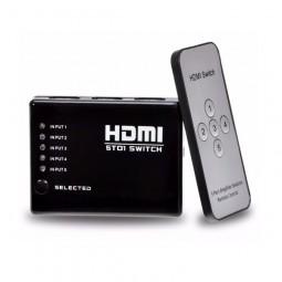 Hub Switch Hdmi 5 Portas Splitter Full Hd + Controle Remoto